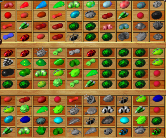 Color coded seeds mod from jazzo last day of work for Fish tycoon 2 breeding chart